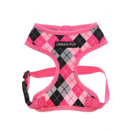 Postroj pro psy URBAN PUP Argyle Pink