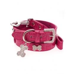 Obojek a vodítko pro psy URBAN PUP Crocodile SET růžový