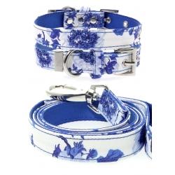 SET obojek a vodítko pro psy URBAN PUP Blue Floral Bouquet