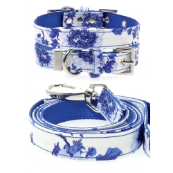 SET obojek a vodítko URBAN PUP Blue Floral Bouquet