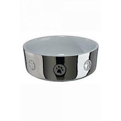 Keramická miska pro psy PAWS stříbrná
