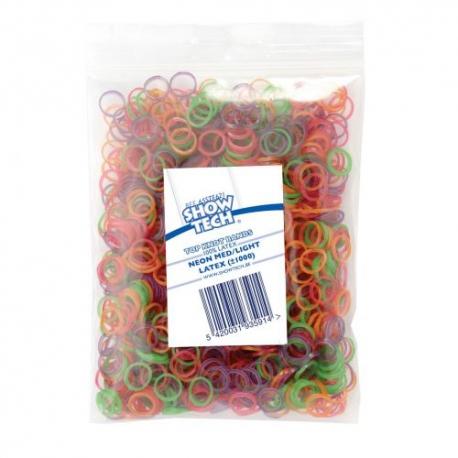 Latexové gumičky SHOW TECH LIGHT na top knot 0,8cm/1000ks - MIX NEON