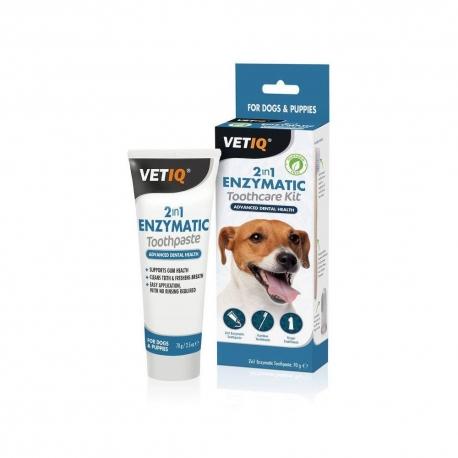Enzymatická pasta na zuby pro psy VETIQ + kartáčky